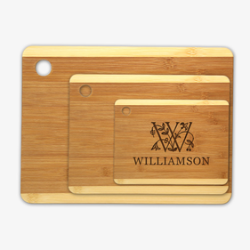 Personalized Initial and Vine Wood Cutting Board 3 Piece Set