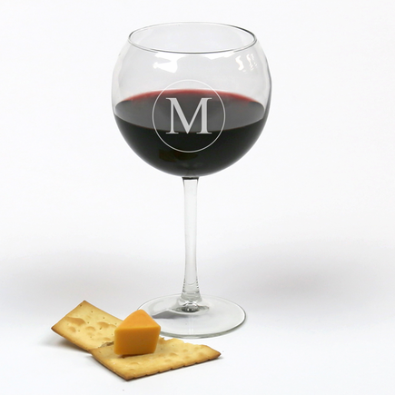 Personalized Initial Arc Cachet Red Wine Glass