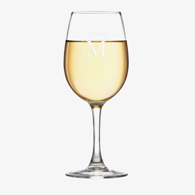 Personalized Initial Arc Cachet White Wine Glass