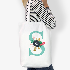 Personalized Initial Custom Cotton Tote Bag