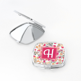 Personalized Initial Floral Square Shaped Compact Mirror
