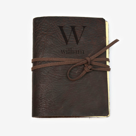 Personalized Initial Genuine Leather-Bound Large Journal