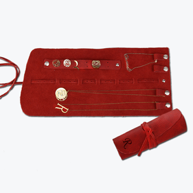 Personalized Initial Genuine Leather Jewelry Roll