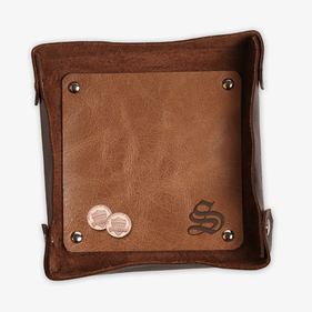 Personalized Initial Two Toned Genuine Leather Stash Tray