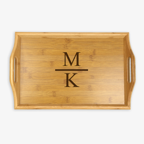 Personalized Initial Handle Wood Tray