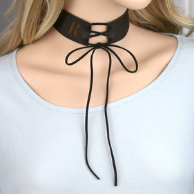 Personalized Initial Lace Up Leather Corset Choker