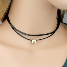 Personalized Initial Multi Layered Black Choker Necklace
