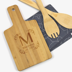 "Personalized Initial Wooden Serving Board <p><span style=""color:#ff0000;"">[WOODEN SERVING BOARD IS CURRENTLY ON BACKORDER]"