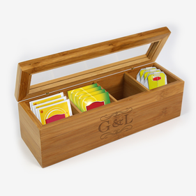 Personalized Initial Wood Tea Box