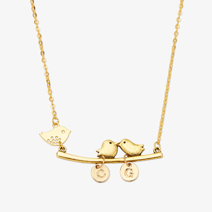 Personalized Initials Mother Bird Brass Necklace