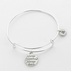Personalized Inspirational Bangle, Always Sisters Always There