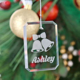 "Personalized Crystal ""Jingle Bells"" Christmas Ornament"