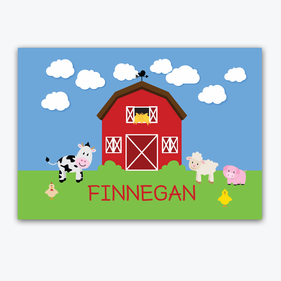 Flash Sale - Personalized Kids Animal Farm House Placemat