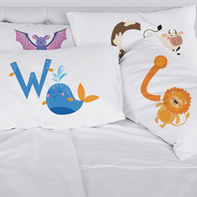 Personalized Kids Animal Initial Pillowcase