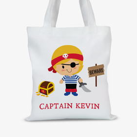 Personalized Kids Character Pirate Tote Bag