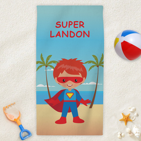 Personalized Kids Character Superhero Beach Towel