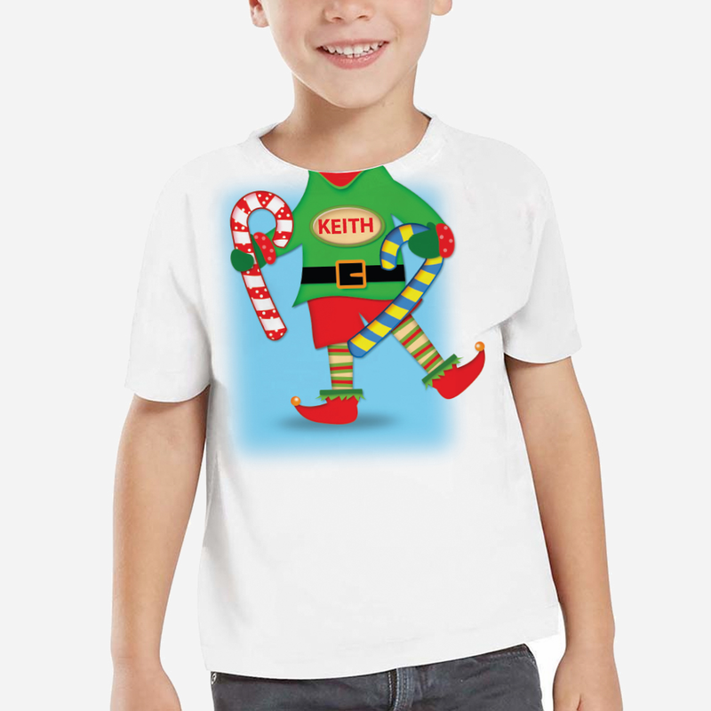Personalized kids elf t shirt animated buy now for Custom kids t shirts