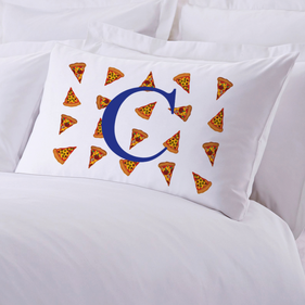 Personalized Kids Initial Pizza Pillow Case