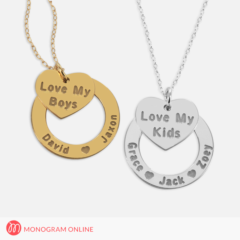Personalized kids name necklace with mom heart pendant monogram personalized silver kids name necklace w mom heart pendant mozeypictures Images
