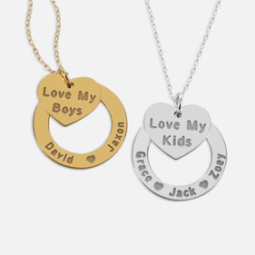 Personalized Silver Kids Name Necklace w/ Mom Heart Pendant