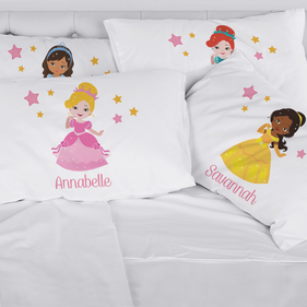 Personalized Kids Princess Character Pillowcase