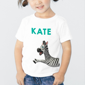 Exclusive Sale - Personalized Kids Zebra T-Shirt
