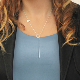 Sterling Silver Lariat Bar Necklace Personalized w/ Side Initial Heart Charm & Swarovski Birthstone