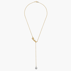 Personalized Lariat Necklace With Crystal Ball in Gold over Silver