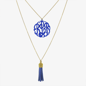 Gold Tone Personalized Layered Acrylic Monogram Tassel Necklace