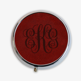 Personalized Leather Design Round Pill Box