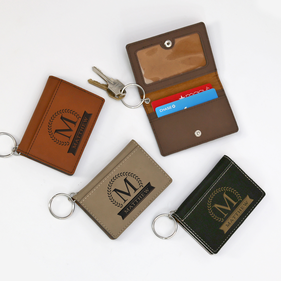 Personalized Leatherette Keychain ID Holder