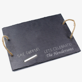 Personalized Lets Celebrate Slate Tray With Jute Hanger