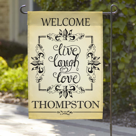 Personalized Live Laugh Love Welcome Garden Flag
