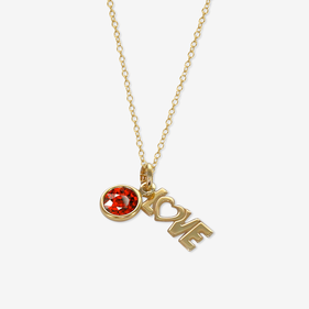 Personalized LOVE Birthstone Necklace