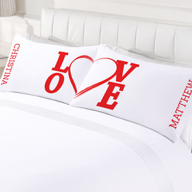 Personalized Love Couples Valentine's Day Pillowcase Set