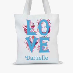 Personalized Love Floral Tote Bag