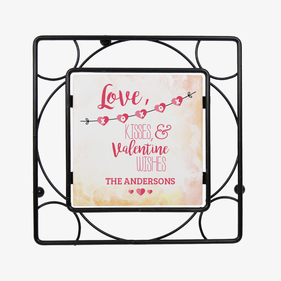 Personalized Love, Kisses & Valentine Wishes Trivet