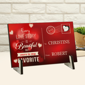 Personalized Love Story Wood Postcard