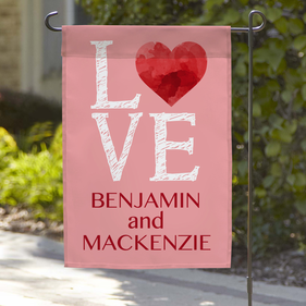 Personalized LOVE with Heart & Names Garden Flag