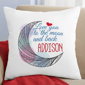 "Personalized ""Love You to the Moon and Back"" Decorative Cushion Cover"