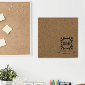 Personalized Lovers Names, Initials & Date Cork Memo Board