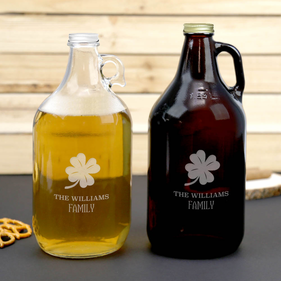 Personalized Lucky Shamrock Beer Growler