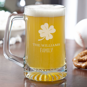 Personalized Lucky Shamrock Beer Mug
