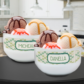 Personalized Couples Ceramic Bowl Set