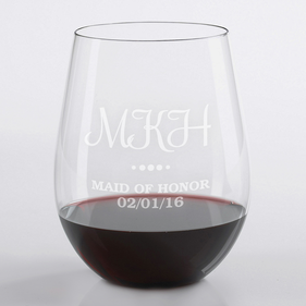Personalized Maid of Honor Stemless Wine Glass