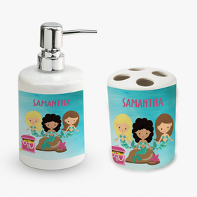 Personalized Mermaid Soap Dispenser and Toothbrush Holder Set