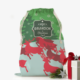 Personalized Merry Christmas Drawstring Sack
