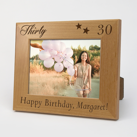 Exclusive Sale - Personalized Milestone Happy Birthday Wood Picture Frame