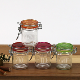 Personalized Colored Lid Mini-Jar Storage Set of Four