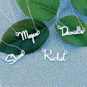 Sets of Personalized Silver Mini Name Necklaces